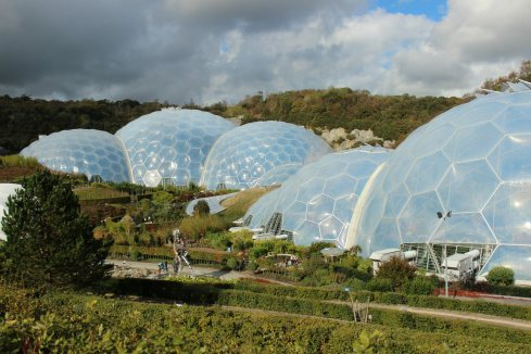 The Eden Project, located in a disused China Clay Quarry