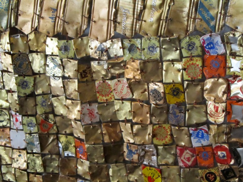 Closeup of El Anatsui Sculpture, Shoe Museum, Somerset