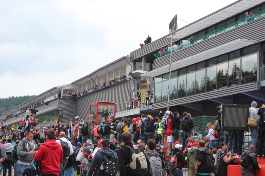 The winners podium as seen from the POV of the crowd