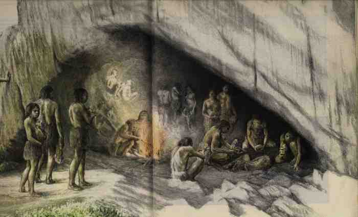 Neanderthal burial at Shanidar Cave. From: Origins, by Richard Leakey and Roger Lewin, 1977, pp 126-127.