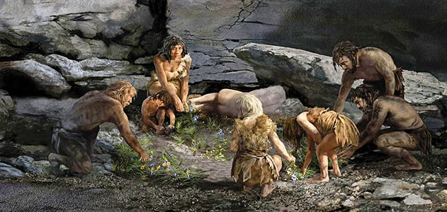 theolduvaigorge.tumblr.com Artist's impression of the Shanidar Cave 'flower burial'.