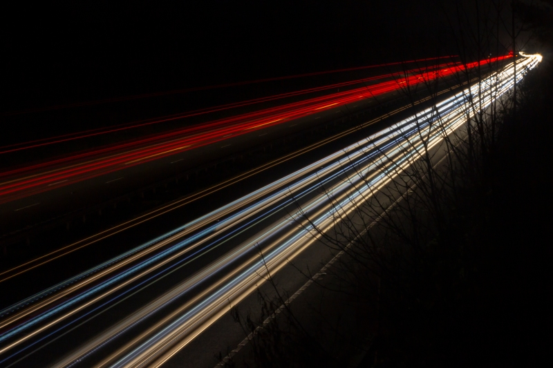 Light Trails on the M5 Southbound